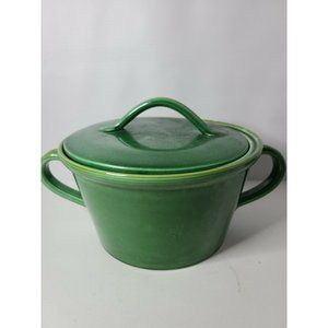 Crate & Barrel Green Two Handle Ceramic Dutch Oven